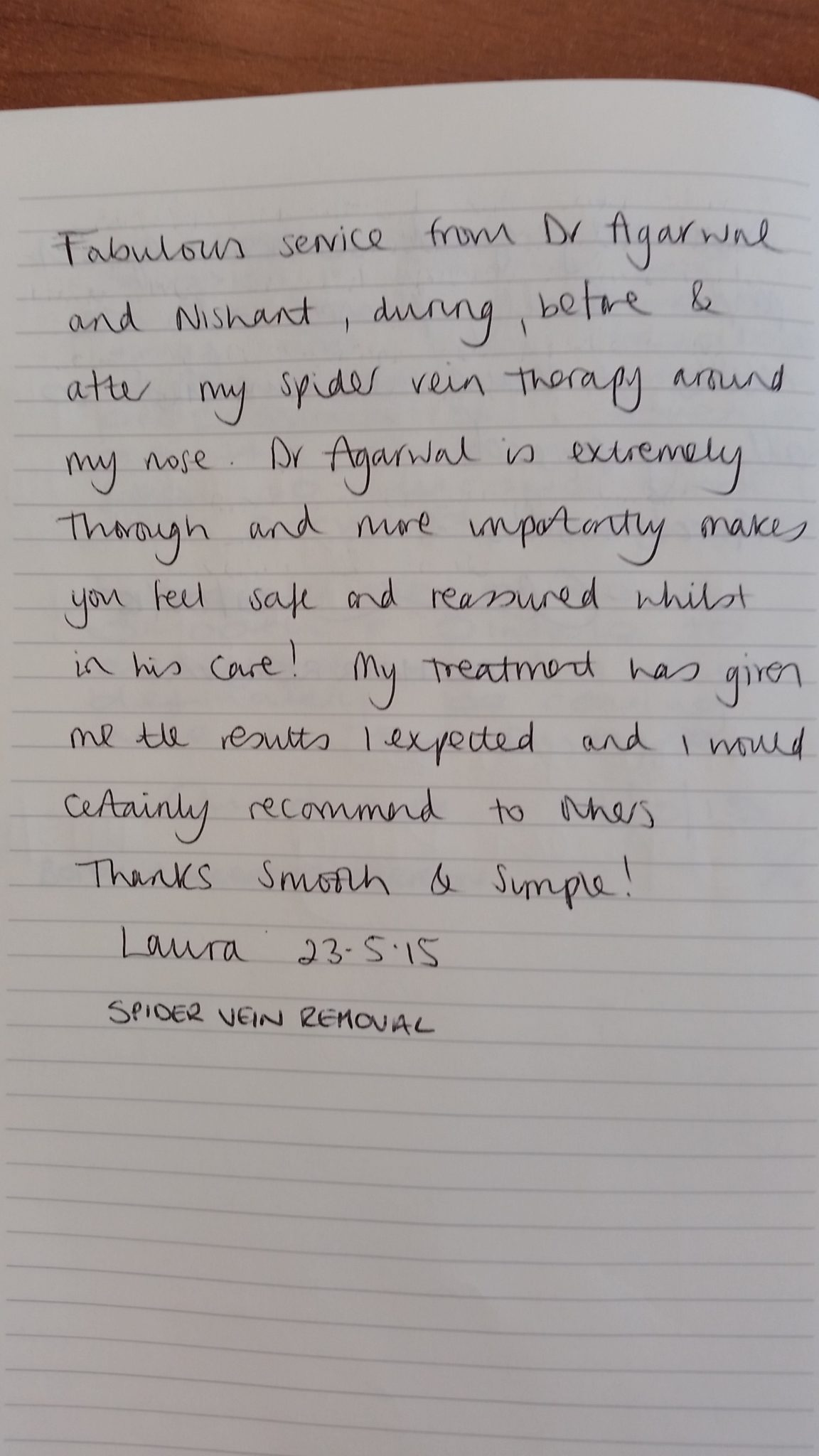 Facial Vein Removal Testimonial - Smooth and Simple